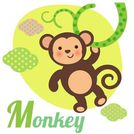 primacy: Cute animal alphabet for ABC book. Vector illustration of cartoon monkey. M letter for the Monkey Illustration