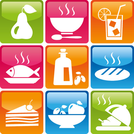 食品のアイコンのセット: 梨、スープ、プレート、スプーン、氷、飲み物、魚、オリーブ オイル、パン、ケーキ、お菓子、果物、レッドホット チキ