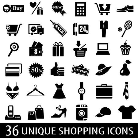 shopping icons: Set of 36 shopping icons. Vector illustration