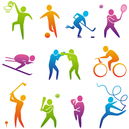 figure: Set of sports icons: basketball, soccer, hockey, tennis, skiing, boxing, wrestling, cycling, golf, baseball, gymnastics. Vector illustration