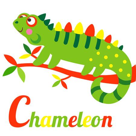 Cute animal alphabet. C letter. Cute cartoon Chameleon. Alphabet design in a colorful style.