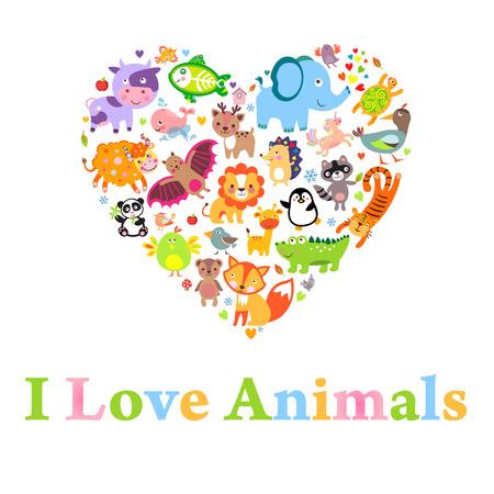 Ich liebe Tiere Konzept, Herz, Vektor-Illustration.