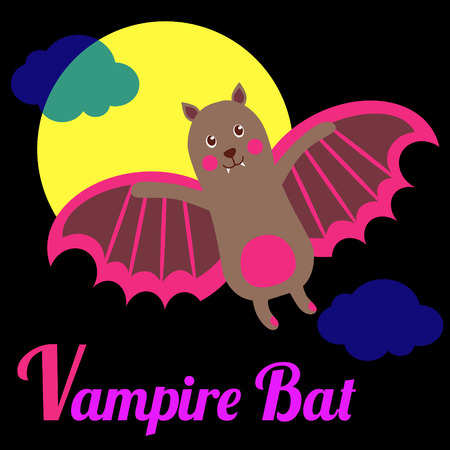 bat animal: Cute animal alphabet for ABC book. Vector illustration of cartoon vampire bat. V letter for the Vampire Bat