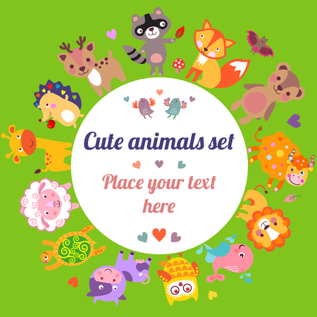 animal frame: Cute animals walking around globe with text frame, Save animals emblem, animal planet, animals world, card, gift