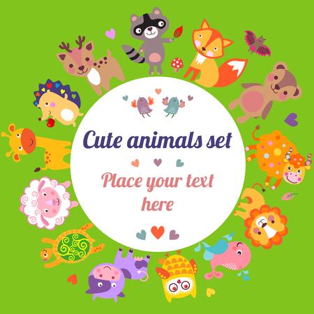 animales de la selva: Los animales lindos caminando alrededor del globo con el marco de texto, Guardar los animales emblema, planeta animal, animales del mundo, tarjeta, un regalo