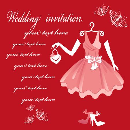 웨딩 드레스. 결혼식 초대 카드. 일러스트