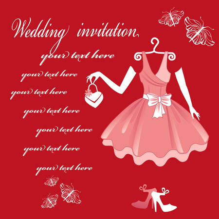 engagement party: Wedding Dress. Wedding invitation card. Illustration