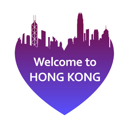 HONG KONG: Vector illustration of Hong Kong skyline in heart shape. Welcome to Hong Kong