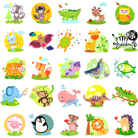 Vector illustration of cute animals and birds: wolf, raccoon, alligator, deer, owl, rabbit, bat, turtle, giraffe, zebra, yak, fox, cow, quail, bird, elephant, monkey, whale, numbat, iguanas, sheep, penguin, bear, lion, hedgehog, X-Ray Fish, bunny, hare