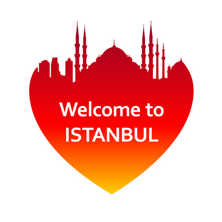 outlook: Vector illustration of Istanbul skyline in heart shape. Welcome to Istanbul