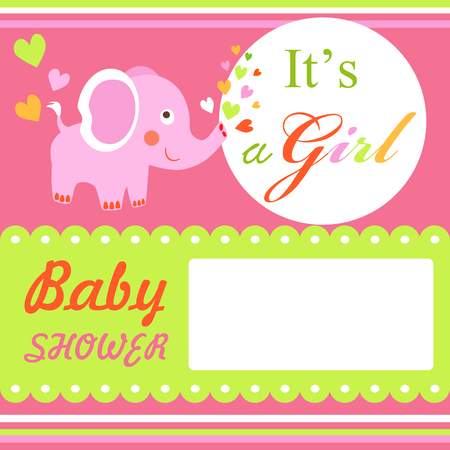 Baby shower colorful card design, vector illustration. Its a girl