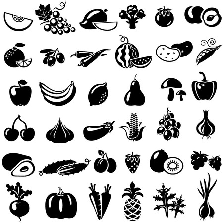 Set of fruits and vegetables. Vector illustration. Tomato, peach, onion, pepper, mushrooms, arugula, beans, melon, grapes, mango, broccoli, orange, olives, watermelon, banana, apple, lemon, pear, cherry, pineapple, eggplant, corn, avocado, cucumber, plum,