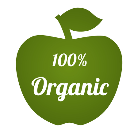 ecological: Apple shape with text 100% organic. Vector illustration