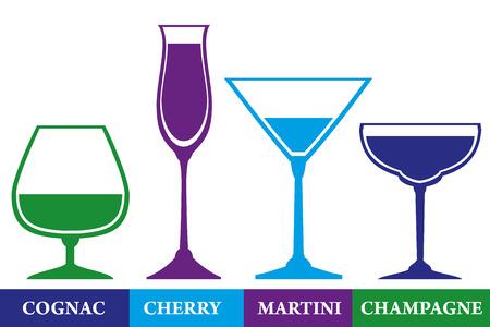 helados con palito: Vasos establecidos para el coñac, cereza, martini y champagne