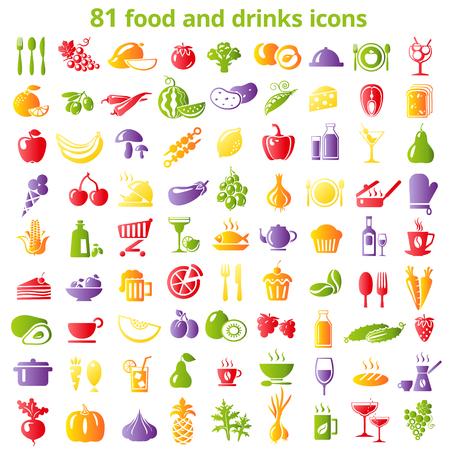 食べ物や飲み物の色アイコンのセットです。ベクトルの図。
