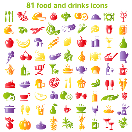 Set of food and drinks color icons. Vector illustration.