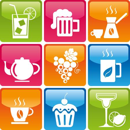 menu de postres: Conjunto de bebidas y alimentos iconos: cóctel, cerveza, café, té, uva, torta, caramelos, dulces, mojitos, margaritas