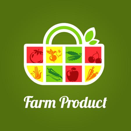 유기농 시장, 저장소, 과일 및 야채와 슈퍼마켓에 대 한 봉투 레이블 벡터 일러스트 레이 션.