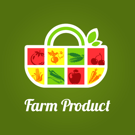Vector illustration of bag label for Organic market, store, supermarket with fruits and vegetables.