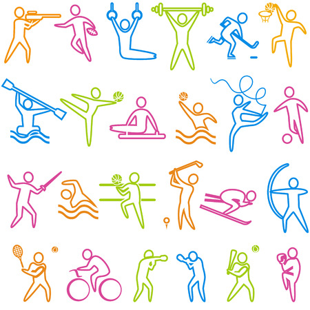 Set of sport and athletics icons. Basketball, soccer, hockey, tennis, skiing, boxing, wrestling, cycling, golf, baseball, gymnastics, shooting, rugby, gymnastics, American football, power lifting, kayaking, canoeing, barbell, weightlifting, water polo, ar