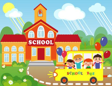 colegio: Ilustración del edificio de la escuela de dibujos animados. Los niños van a la escuela en autobús.
