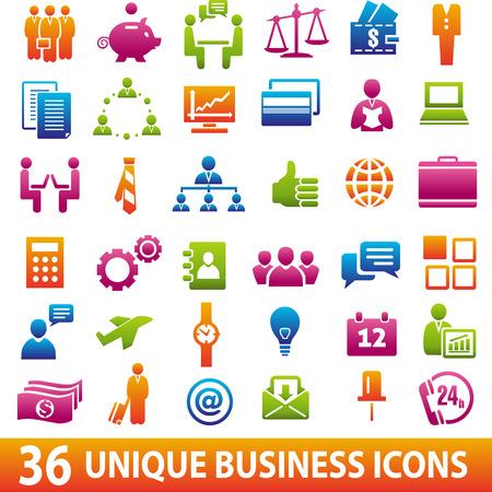 36 ビジネス アイコンのセットです。ベクトル図