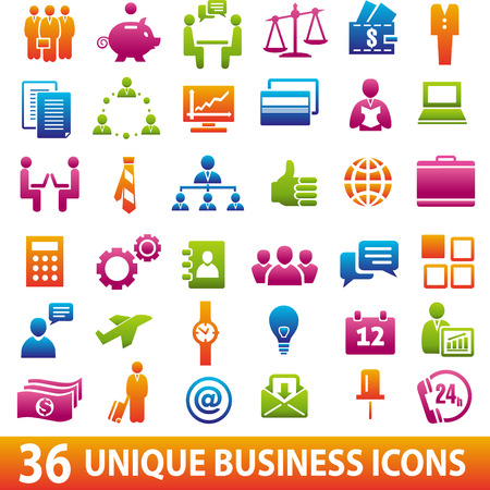 contacting: Set of 36 business icons. Vector illustration