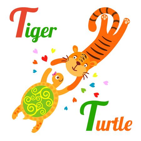 alfabeto con animales: alfabeto animal linda por un libro del abecedario. Ilustración del vector del tigre de la historieta y la tortuga. letra T para el tigre y la tortuga