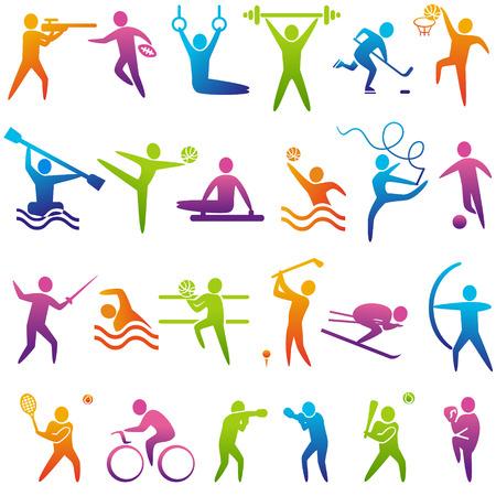 symbol sport: Set von Sport-Icons: Basketball, Fußball, Hockey, Tennis, Skifahren, Boxen, Ringen, Radfahren, Golf, Baseball, Gymnastik, Schießen, Rugby, Gymnastik, American Football, Powerlifting, Kajak, Kanu, Langhantel, Gewichtheben, Wasserball, Bogenschießen, fencin Illustration