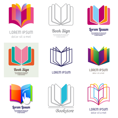 Set of book and education icons. Vector illustration