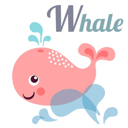 profound: Cute animal alphabet for ABC book. Vector illustration of cartoon whale. W letter for the Whale Illustration
