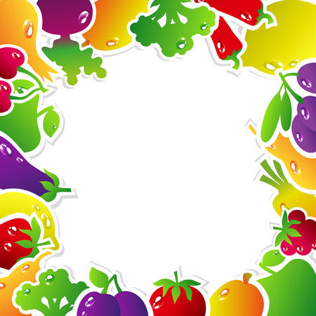 price tag: Frame made of fruits and vegetables: olives, broccoli, chili, carrots, cherries, berries, pears, plums, tomatoes, eggplant, raspberries, onion, apple, mango, beets, strawberries, lemon. Vector illustration.
