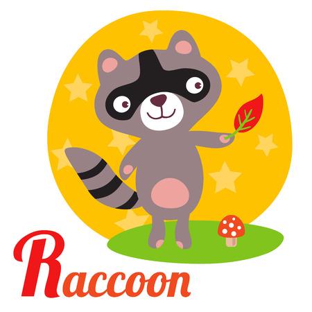 animal alphabet: Cute animal alphabet for ABC book. Vector illustration of cartoon raccoon. R letter for the Raccoon Illustration