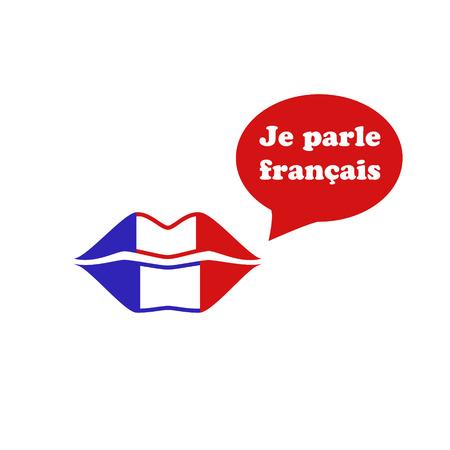 France flag lipstick on the lips. I speak Franch. Je parle français