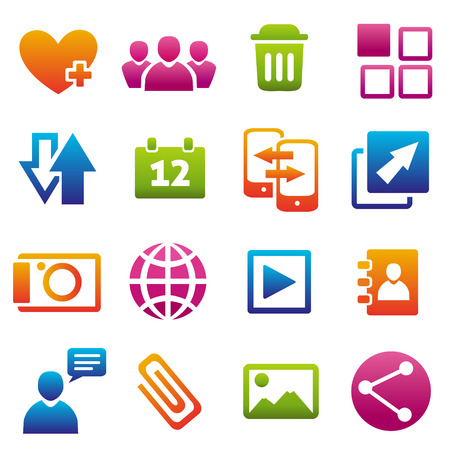 communication icons: Set of 16 web and social media icons. Illustration