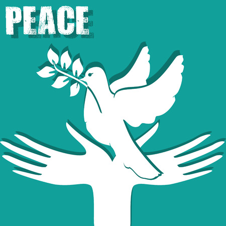a sprig: Symbol of peace: the hands and a dove with a sprig.
