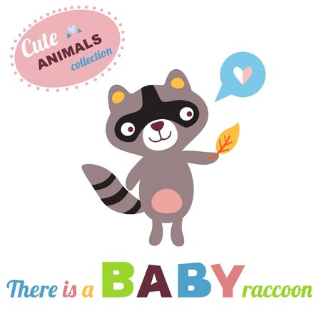 cute animals: Welcome baby card. Vector illustration. Raccoon baby. Cute animals collection