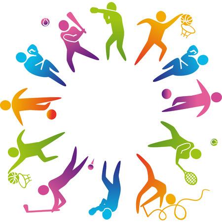 Mundo del deporte. Ilustración vectorial de iconos de los deportes: baloncesto; fútbol; tenis; boxeo; lucha; golf; béisbol; gimnasia;