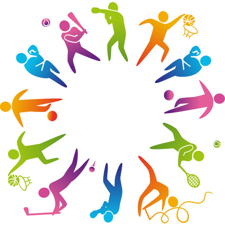 World of sports. Vector illustration of sports icons: basketball; soccer; tennis; boxing; wrestling; golf; baseball; gymnastics; Çizim