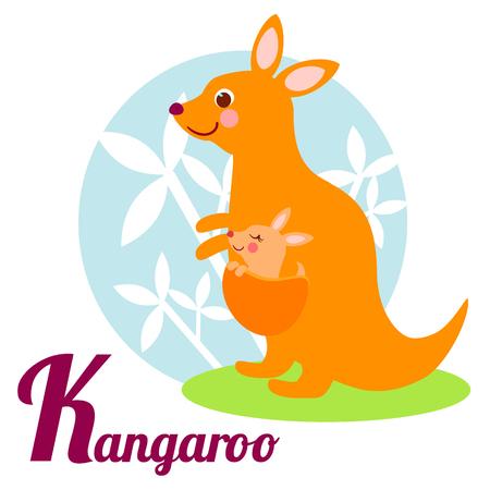 alfabeto con animales: Alfabeto animal lindo para el libro de ABC. Ilustración del vector del canguro de la historieta. Letra K para el canguro