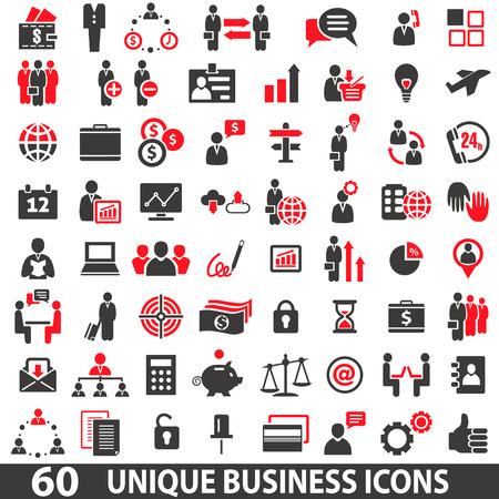 商務: 兩種顏色紅色和深灰色一套60圖標業務