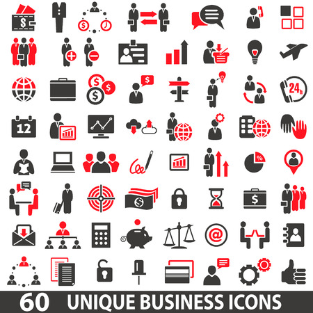 communication icons: Set of 60 business icons in two colors red and dark grey