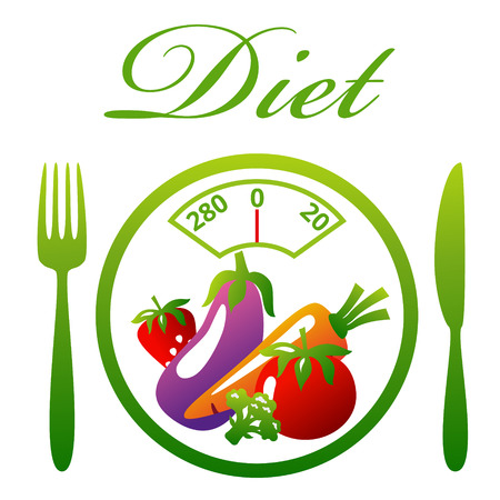 diet food: Weighing scales. Healthy food. Diet concept, snack of vegetables and fruits. Vector illustration