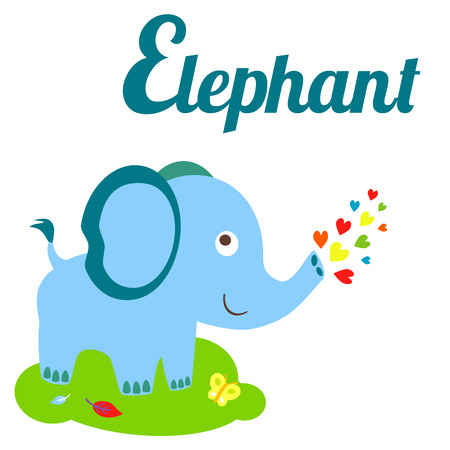동물: 귀여운 동물 알파벳입니다. E 편지입니다. 귀여운 만화 코끼리입니다. 화려한 스타일 알파벳 디자인 - 재고 벡터
