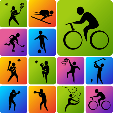 Set of sports icons: basketball, soccer, hockey, tennis, skiing, boxing, wrestling, cycling, golf, baseball, gymnastics. Vector illustration Zdjęcie Seryjne - 46373045