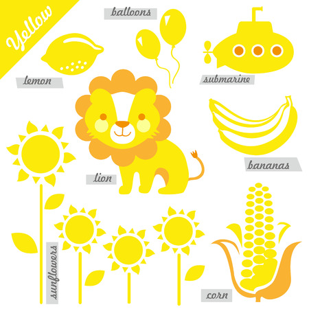 corn flower: set of images as examples of yellow color, for kids, educational purposes, illustrations Illustration