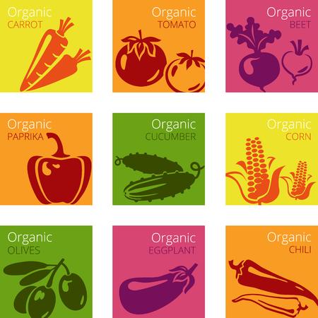 有機野菜のラベルのベクトル イラスト  イラスト・ベクター素材