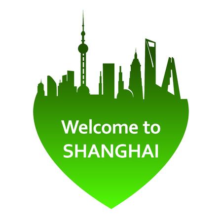 shanghai skyline: Vector illustration of Shanghai skyline in heart shape. Welcome to Shanghai
