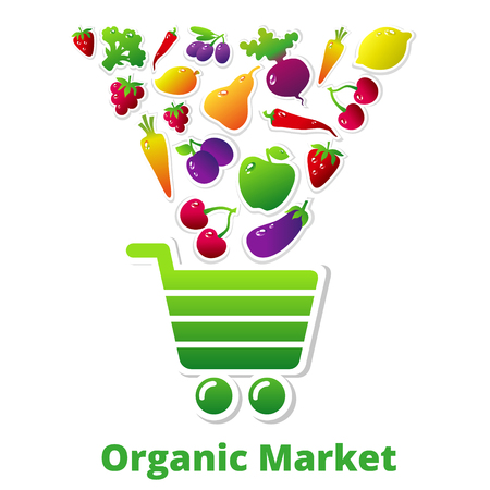 cartoon berries: Organic fruits and vegetables falling into the shopping cart. Vector illustration. Organic market