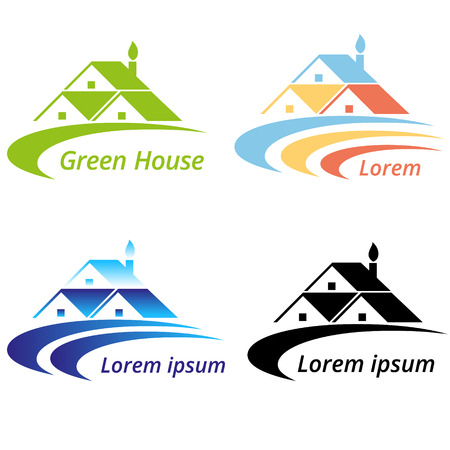 intentional: Vector illustration of Real estate and Green house design concept.